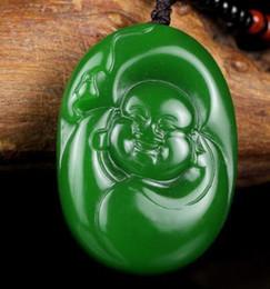 $enCountryForm.capitalKeyWord Australia - Fine Jewelry Natural Green Hand-carved Chinese Hetian Jade Maitreya Pendant + Rope Necklace Free Shipping