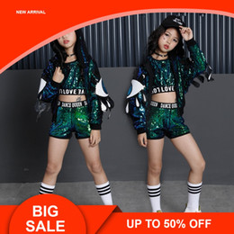 $enCountryForm.capitalKeyWord Australia - Green Girls Sequin Costumes For Holidays Kids Sequin Jacket Crop Vest Top Shorts 3pcs Children Girls Stage Dance Wear Outfits