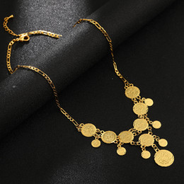 ancient gold coins UK - Arabic ancient COINS chains necklace for Women's Gold Color Middle East Coins Jewelry Weddings Party Gift