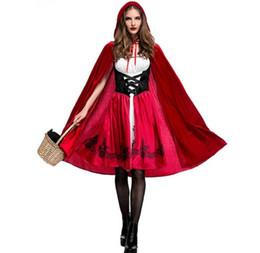 Red Riding hood clothes online shopping - 2019 Hot Sales Lady Cosplay Dress Halloween Woman Nightclub Carnival Party Costume Female Little Red Riding Hood Clothing