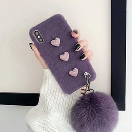 $enCountryForm.capitalKeyWord NZ - YunRT Cute simple heart shape fluffy plush hairball strap case for iphone XS MAX Case XR X 6 6S 7 8 plus 7plus cover Pearl bracelet