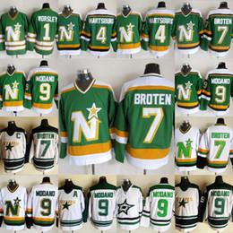 43f7fb079f4 Dallas Stars 9 Mike Modano 7 Neal Broten 4 Craig Hartsburg 11 JP PARISE 20 Dino  Ciccarelli 1 Gump Worsley Mens Womens Youth Hockey Jerseys