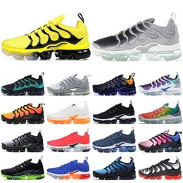 China 2019 New Bumblebee TN Plus Designer Running Shoes Triple Black Wolf Grey Black Grape Mens Womens Trainers Sport Sneakers Size 5-11 cheap black wolf art suppliers
