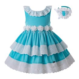 Wholesale Pettigirl White Flowers Summer Party Birthday Girl Blue Dress With Headband Sleeveless Kids Clothing G DMGD203