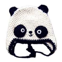 ed2a3512bd247e Adorable Knit Baby Panda Bear Hat,Handmade Crochet Baby Boy Girl Animal Earflap  Hat,Infant Spring Winter Cap,Newborn Toddler Photo Prop