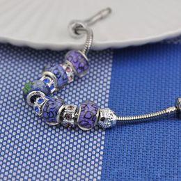 $enCountryForm.capitalKeyWord Australia - Jewelry Women Screw Bracelets Fit Pandora Logo Stainless Steel Diamond Beaded Purple Crystal Glass Beads Bangle