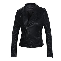 leather motorcycle jacket small Canada - 2019 brand leather jackets for women Motorcycle Turn-Down Collar PU Small Leather Clothing, Rivet pu jacket women,free shipping