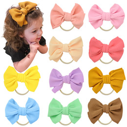 headbands bow Australia - Free DHL INS Cute Big Bow Hairband Baby Girls Toddler Kids Elastic Headband Knotted Nylon Turban Head Wraps Bow-knot Hair Accessories