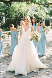 $enCountryForm.capitalKeyWord Australia - Ivory Spaghetti Strap Wedding Dresses Backless V-neck Simple Bridal Dress for Women Summer Garden Beach Wedding Party Gowns 2019 New Arrival