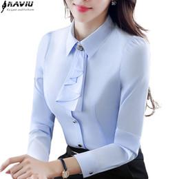 $enCountryForm.capitalKeyWord Australia - Elegant Ladies Long-sleeve Blue Shirt Autumn White Purple Bow Tie Chiffon Women Blouse Work Wear Formal Office Plus Size Top MX190710