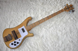 Maple guitar wood online shopping - Factory Natural Wood Color Electric Bass Guitar with Strings Neck Thru Body White Pickguard High Quality Can be Customized