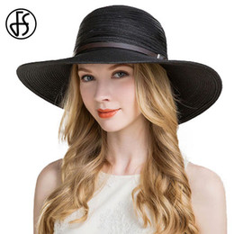 elegant hats for beach 2019 - wholesale Summer Hat For Women Wide Large Brim Floppy Straw Beach Hats With Leather Belt Fashion Chapeu Feminino Elegant