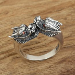 thai mans ring NZ - Fashion Jewelry Rings Adjustable Ring 100% 925 Sterling Silver Ring Retro Thai Silver Red Eye Dragon Women Men fine jewelry GR031