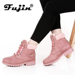 Boots Warm Up Australia - New Pink Women Boots Lace up Solid Casual Ankle Boots Booties 11.11 Round Toe Women Shoes winter snow boots warm british