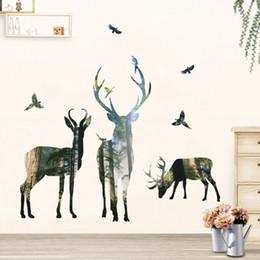 Bird Wall Stickers Australia - 3D Deer Silhouette Wall Stickers For Kids Room Home Decor Bedroom Forest Tree Wall Decals Elk Birds Art Mural Poster Wallpaper