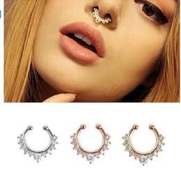 $enCountryForm.capitalKeyWord Australia - SHUANGR Crystal FashionClicker Fake Septum for Women Body Clip Hoop Vintage Fake Nose Ring Faux Piercing Body Jewelry Wholesale