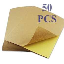 labels a4 UK - 50 Sheets Brown Kraft Paper Stickers Self Adhesive Inkjet Laser A4 Printing Labels Q190529