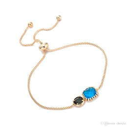 $enCountryForm.capitalKeyWord Australia - Lady Chain Charm Bracelets Blue Black Glass Crystal Fashion Box Chain Bangle Fashion Jewelry Best Gifts For Women DC153