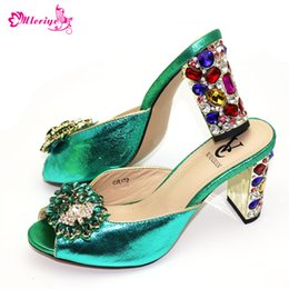 glossy leather shoes women NZ - PU Leather High Glossy Fashion Green Comfortable Ladies Pointed Toe Sandals Women Shoes9cm Hoof Heels Strong Stable Size 38-42