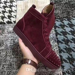 mens spiked high top sneakers UK - Wine Red Suede Studded Spikes High Top Flats Red Bottoms Shoes Luxury Mens Womens, Party Lovers Genuine Leather Sneakers size 36-46