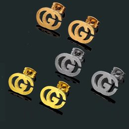 Original stamp online shopping - New Original Brand Stainless Steel Stud Earrings gold Plated Colors G Stamp Fashion Designer Stud For Women Price