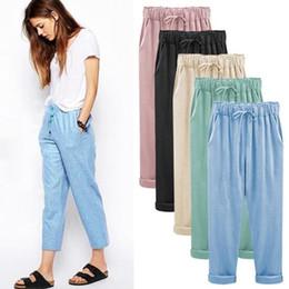 Wholesale plus size harem pants resale online – High Street Womens Pants Hot Sale Cotton Solid Color Loose Style Casual Pants Large Plus Size with Colors