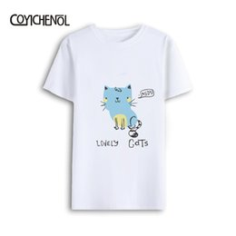 Discount round t man model - COYICHENOL 26 style  2019 New Cute Kawaii cat Hand drawn cats short Sleeve Model round neck t shirt