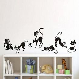 Black Cat Decor Australia - Lovely 6 Black Cute Cats Wall Sticker Moder Cat Wall Stickers Girls Vinyl Home Decor Cute Cat Living Room Children RoomHGBK