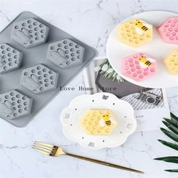 chocolate shaped tools Canada - 6 in 1 hexagon shape honeycomb Chocolate Mold,Fondant Cake Decorating Tools,Silicone Cake Soap Mould Hot Selling