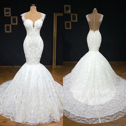 Sweetheart Lace Button Mermaid Dress Australia - White Sweetheart Mermaid Full Lace Wedding Dresses 2019 Backless Covered Buttons Sleeveless Plus Size African Bridal Wedding Gowns BC2056