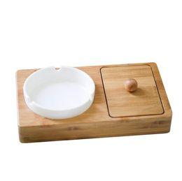 $enCountryForm.capitalKeyWord Australia - New Desktop Wood Material Storage Box Cover Case With Ceramic Ashtray Portable Innovative Design For Cigarette Tobacco Herb Smoking Pipe