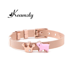 $enCountryForm.capitalKeyWord Australia - Keamsty Piglet Crown ,Duck Custom 8mm DIY Slide Charms Keeper Bracelet Mesh Keeper Bracelet Silver Charm Personalized