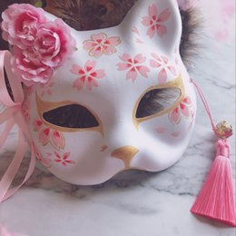 $enCountryForm.capitalKeyWord Australia - New Japanese Hand-painted Cat Natsume's Book of Friends Pulp Fox Half Face Mask Halloween Cosplay Fox Animal Mask Party