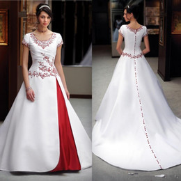 wedding gown dark red NZ - Classic Design White and Red Wedding Dress Short Sleeve Scoop Neck Beaded Embriodery A Line Satin Bridal Gowns Custom Made