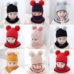 baby boy skull crochet beanies Australia - Toddler Kids Baby Boys Girl beanie Pompon Hat Winter Warm Knit Crochet Beanie Cap Scarf newborn photography props