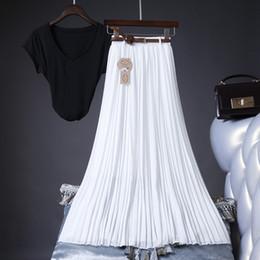 $enCountryForm.capitalKeyWord Australia - 2019 High Quality Women Summer Skirt High Waist Vintage Women Pleated Skirt Saias Femme Boho White Long Chiffon Streetwear