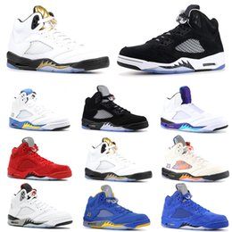 Discount mens snow sneakers Top Men 5 5s Basketball Shoes Bred Laney Blue White Fresh Prince Grape International Flight Mens Trainer Sports Sneaker