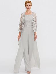 Suit Side Split NZ - Elegant Silver Pant Suits Straps Long Chiffon Lace Mother of the Bride Dress Split Front Jumpsuit Formal Wedding Guest Evening Wear Gowns