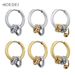 454f1590e AOEDEJ Small Hoop Earrings 316L Stainless Steel Earrings for Women Men Hoop  Silver Gold Color Round brinco pendientes