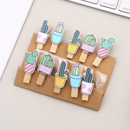 $enCountryForm.capitalKeyWord Australia - 10 pcs pack Decoration Cactus Wooden Clip Photo Paper Craft DIY Clips with Rope