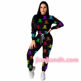 HigH end pant suits online shopping - 6587ZH5116 Explosion models for women s fashion high end pants suits European and American women s hot sale letter two piece212011