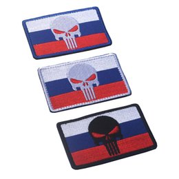 Punisher morale Patches online shopping - Russian Flag Punisher D Embroidery Armband Russian Umbrella Military Tactics Morale Badge Camouflage Clothing Backpack Patch