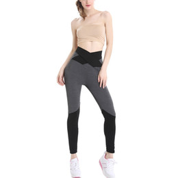 74b09cbf62fb0 High Elasticity Training Running Tights Wide Waisted Yoga Pants Women Fitness  Running Sport Push Up Cross Back Yoga Leggings