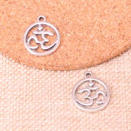 $enCountryForm.capitalKeyWord Australia - 84pcs Charms circle yoga om Antique Silver Plated Pendants Fit Jewelry Making Findings Accessories 18*20mm