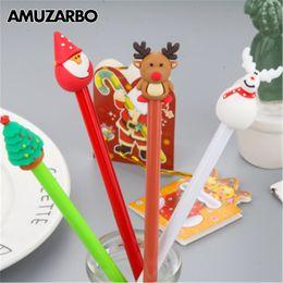 santa pens 2019 - 1 Pcs Creative Christmas Tree Santa Claus Gel Pens Cute Snowman Reindeer black Ink neut Pen Stationery gift School Suppl