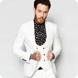 coat suit man design Australia - Latest Coat Pants Design Ivory Groom Tuxedo Men Wedding Suits for Man Outfits 3Piece Costume Homme One Button Slim Fit Terno Masculino