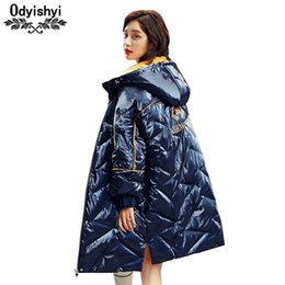 Ducks Prints NZ - Winter Down Jacket Hooded Parka Women 2019 Fashion Print Large size Loose Outerwear Warm High Quality White Duck Down Coat HS399