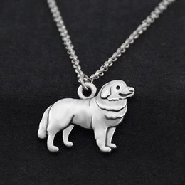 $enCountryForm.capitalKeyWord Australia - Vintage Stainless Steel Long Chain Great Pyrenees Dog Charm Pendant Necklace Men Long Statement Necklaces For Women Pet Collares Party Gift