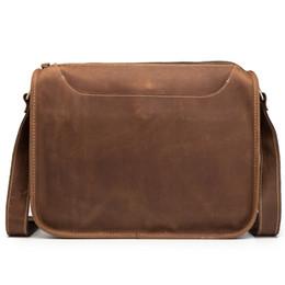 Ipad Genuine Leather Australia - Man Briefcase Genuine Leather Crossbody Fashion Male Messenger Bags Shoulder Retro Handbag Flap Blosa Business Travel Ipad Gift #563813