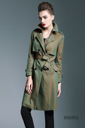 Double Shirt Designs Australia - New women long trench coat jacket color green Double Breasted Coat Jackets Trench Coats Wear Dresses Blouses Shirts T-shirts